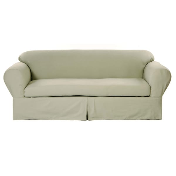 Classic Two Piece Twill Loveseat Slipcover Overstock Shopping Big Discounts On Classic