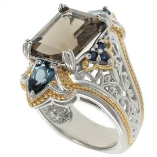 Michael Valitutti Two-Tone Smokey Quartz, London Blue Topaz and Blue Sapphire Ring