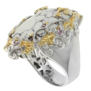 Michael Valitutti Two-Tone Jasper and Pink Sapphire Ring