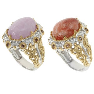 Michael Valitutti Two-Tone Sunstone or Kunzite Ring