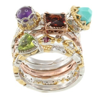 Michael Valitutti Two-Tone Multi-Gem Stacking Ring Set