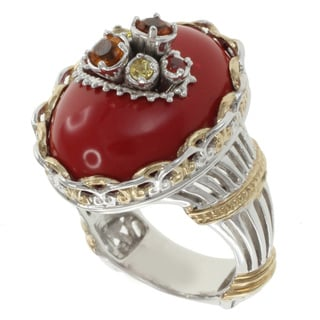 Michael Valitutti Two-Tone Coral and Gemstome Ring