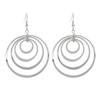 NEXTE Jewelry Silvertone Four Circles Dangle Hoop Earrings