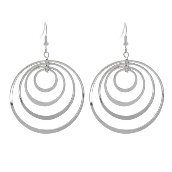 NEXTE Jewelry Silvertone Four Circles Dangle Hoop Earrings