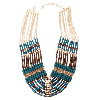 NEXTE Jewelry Goldtone Sea Bead Teal and Brown Necklace