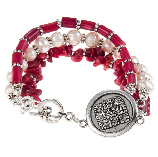 Coral and Cream Beaded Multi-symbol Charm Bracelet (Guatemala)