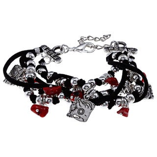 3-charm Multi-strand Black and Red Bracelet (Guatemala)
