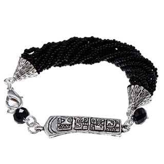 Black Twisted Beads and Symbols Bracelet (Guatemala)