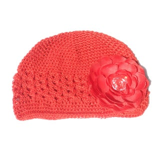 Boutique Red Crochet Flower Hat