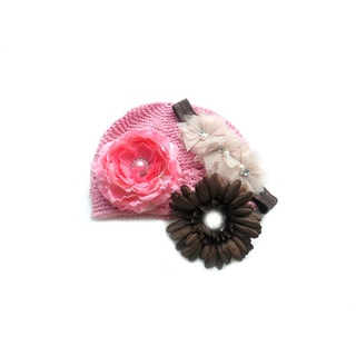 Boutique 4-Piece Crochet Hat and Headband Flower Gift Set