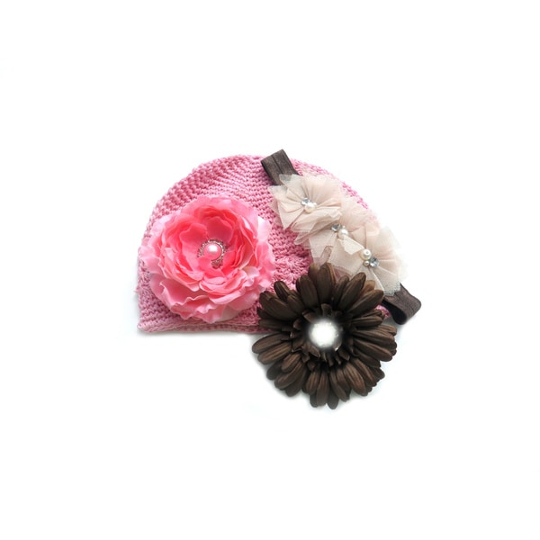 Boutique 4-Piece Crochet Hat and Headband Flower Gift Set