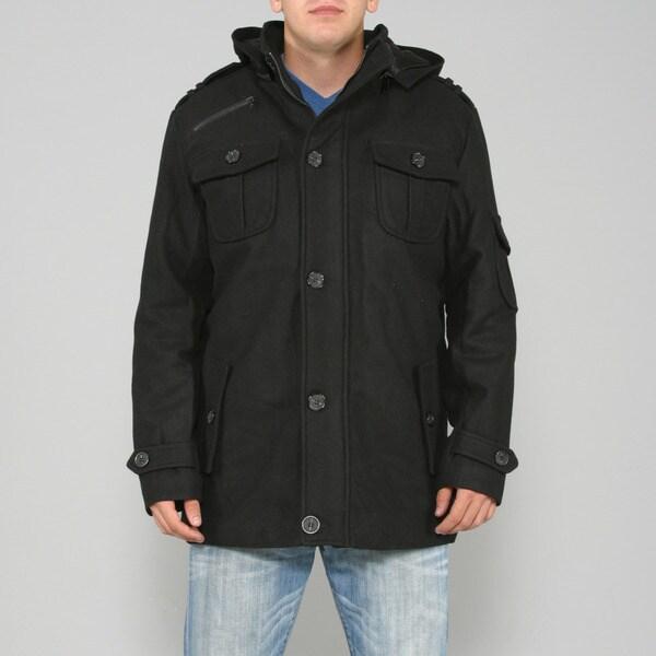 Ron Chereskin Men's Black Wool-blend Hooded Coat