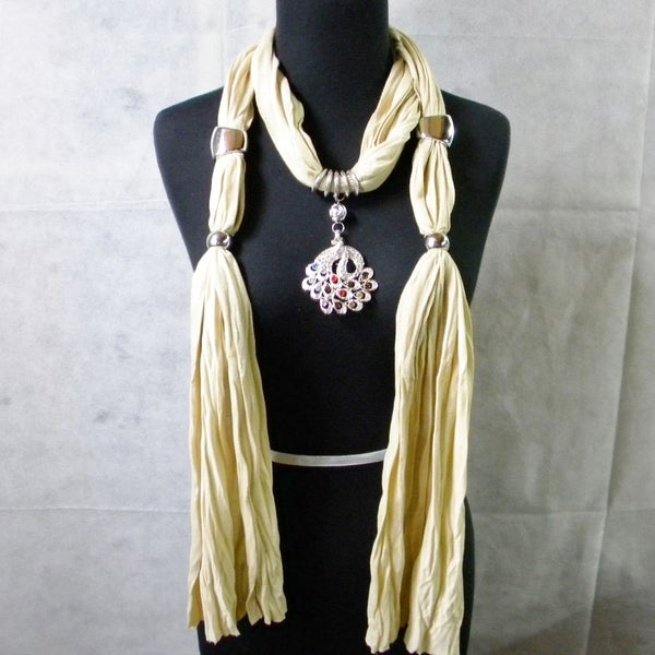 Beige Fashion Jewelry Scarf with Multicolor Peacock Pendant