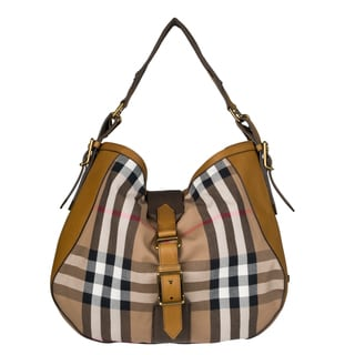 Burberry Medium Vintage House Check Hobo Bag