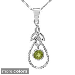 Sterling Silver Round Cut Natural Peridot/Amethyst Stone Celtic Knot Pendant(Thailand)