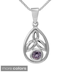 Sterling Silver Round Cut Natural Peridot/Amethyst Stone Celtic Knot Pendant (Thailand)