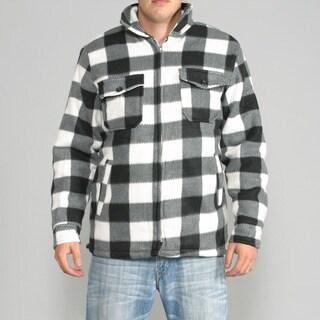 Maxxsel Men's Black/ White Buffalo Plaid Flannel Jacket