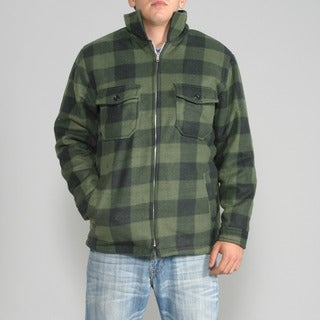 Maxxsel Men's Green Buffalo Plaid Flannel Jacket