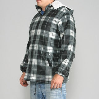 Maxxsel Men's Black/ White Plaid Fleece Jacket with Detachable Hood