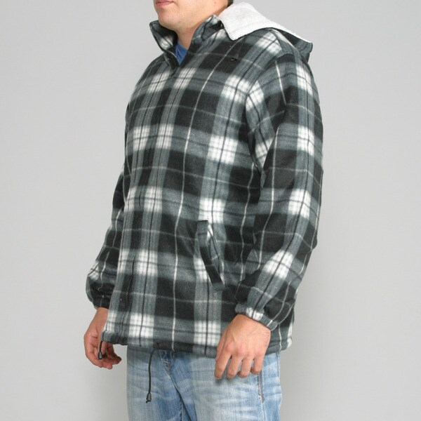 Maxxsel Men's Black/ White Plaid Fleece Jacket with Detachable Hood