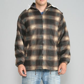 Maxxsel Men's Brown Plaid Fleece Jacket with Detachable Hood