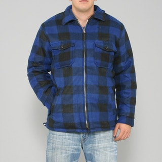 Maxxsel Men's Blue/ Black Buffalo Plaid Flannel Jacket
