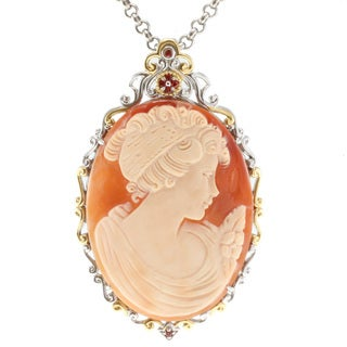 Michael Valitutti Two-tone Shell Cameo Pendant Necklace