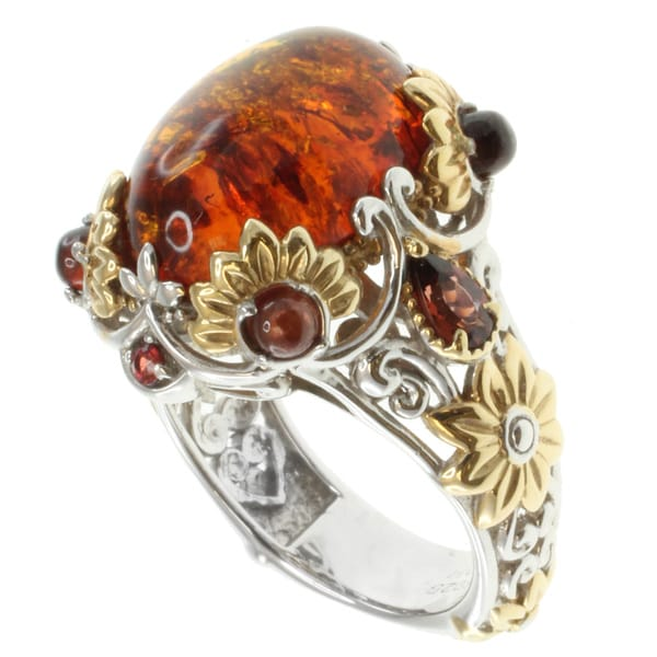Michael Valitutti Sterling Silver Amber Two-Tone Ring
