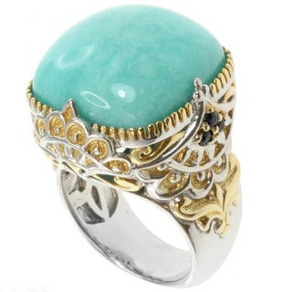 Michael Valitutti Sterling Silver Amazonite Two-Tone Ring