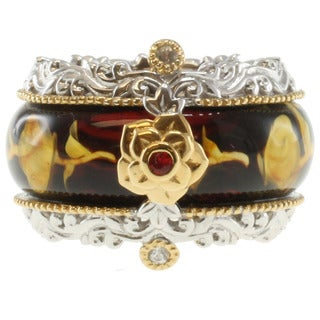 Michael Valitutti Sterling Silver Carved Amber Two-Tone Ring