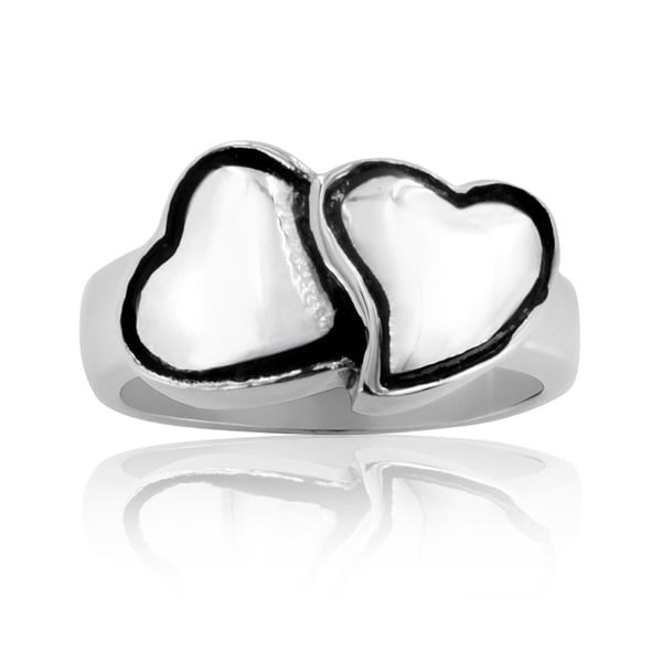 Stainless Steel Double Hugging Hearts Casted Ring
