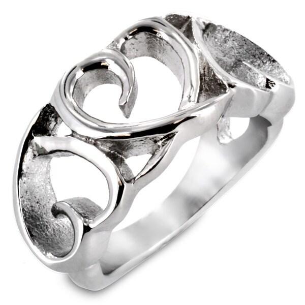 West Coast Jewelry Stainless Steel Triple Heart Loop Hollow Ring