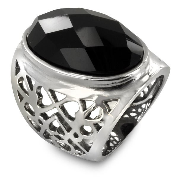 Stainless Steel Multi-Faceted Oval Onyx Ring