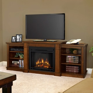 Real Flame Hawthorne Burnished Oak Entertainment Electric 74.9-inch Fireplace