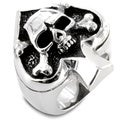 West Coast Jewelry Stainless Steel Spade Ace Crossbones Death Skull Ring