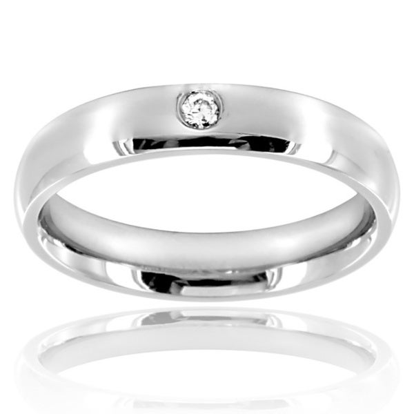 Stainless Steel Single Cubic Zirconia Classic Domed Band Ring