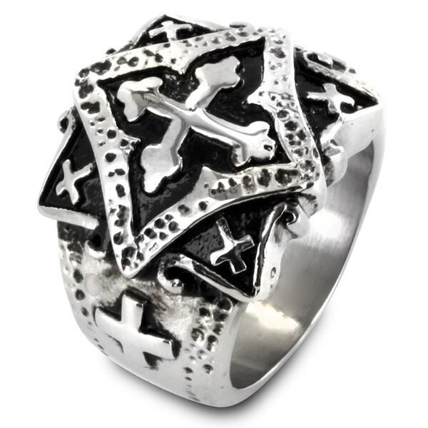 West Coast Jewelry Stainless Steel Ornamental Multi Cross Ring