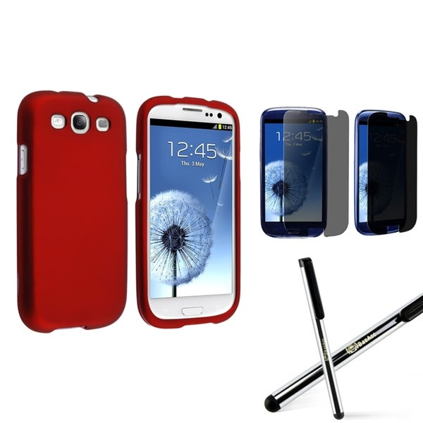 INSTEN Phone Case Cover/ Privacy Protector/ Stylus for Samsung Galaxy S3/ S III