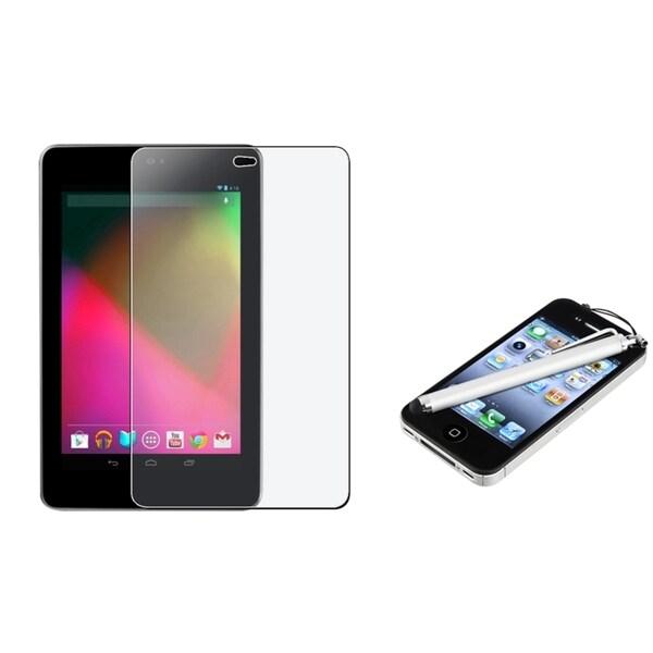 BasAcc Anti-glare Screen Protector/ Silver Stylus for Google Nexus 7