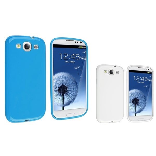 INSTEN Blue Jelly/ White Jelly TPU Phone Case Cover for Samsung Galaxy S3/ SIII 3