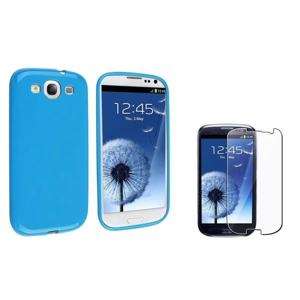 INSTEN Blue Jelly TPU Phone Case Cover/ LCD Protector for Samsung Galaxy S3/ S III