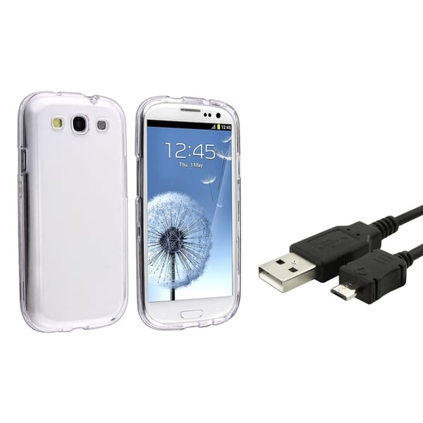 INSTEN Clear Crystal Phone Case Cover/ USB Cable for Samsung Galaxy S3/ S III