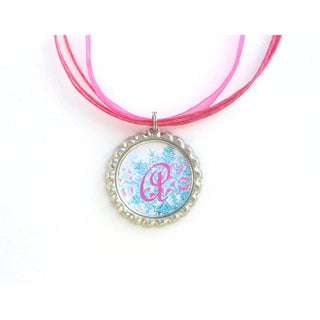 Pink and Blue Snowflake Monogram Bottle Cap Necklace