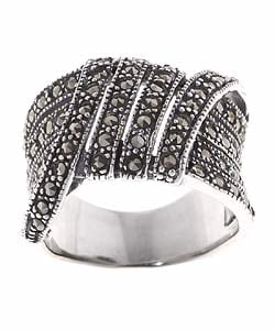 Glitzy Rocks Sterling Silver and Marcasite Fashion Ring