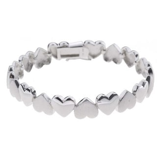 Mondevio Sterling Silver Heart Links Bracelet