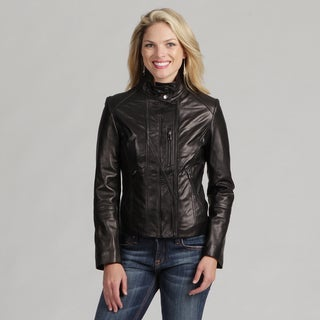 Collezione Women's Black Leather Stand Collar Jacket