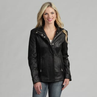 Izod Women's Black Leather Funnel Collar Jacket