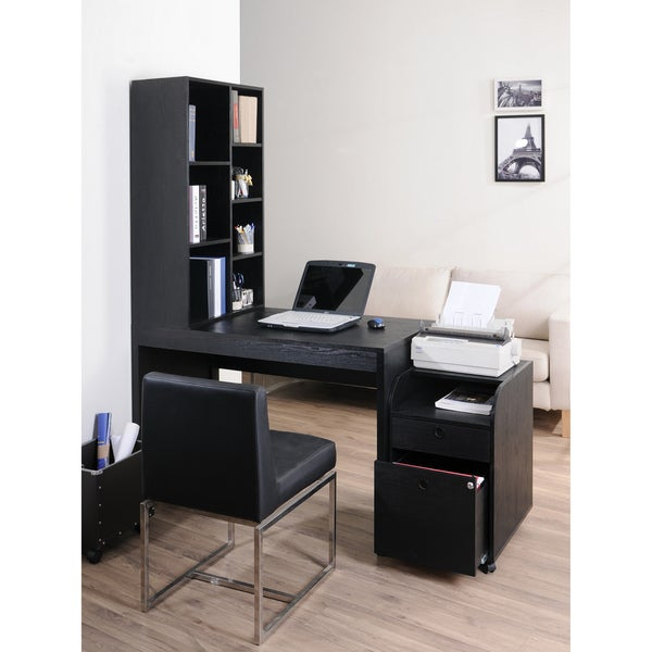 furniture of america zayo black finish office desk with