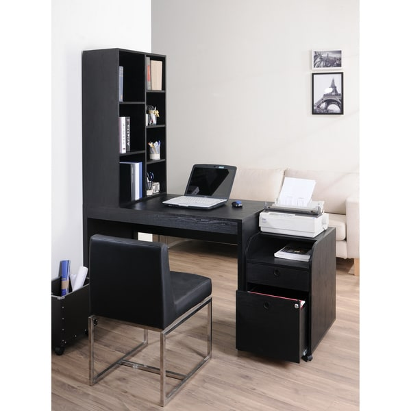 zayo black finish office desk furniture bookshelf computer
