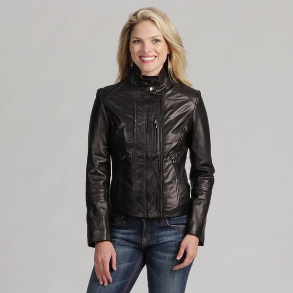 Collezione Women's Plus Black Leather Stand Collar Jacket